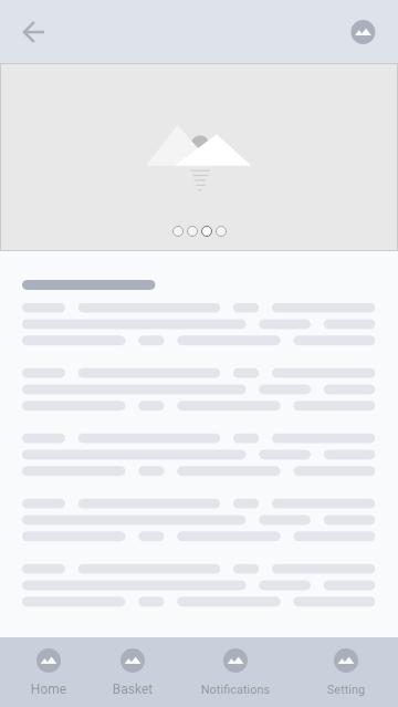 Wireframe tela de texto