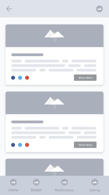 Wireframe tela de publicações