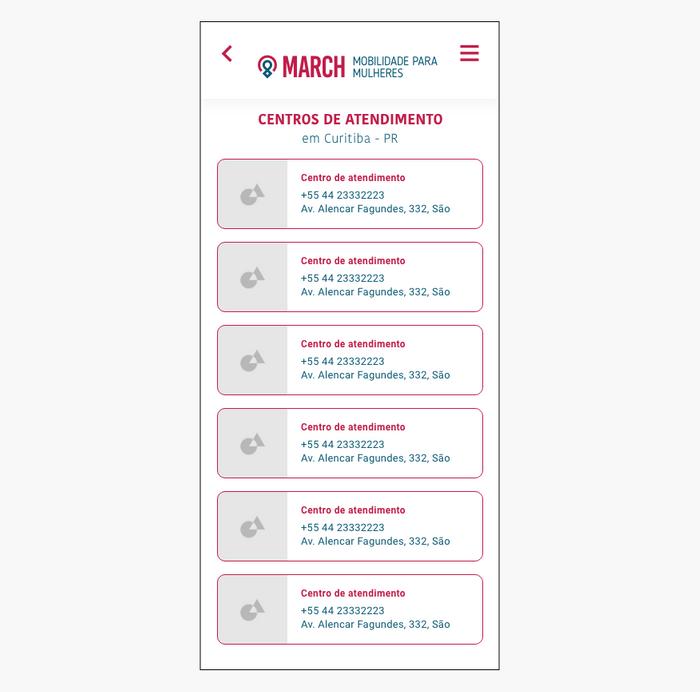 Protótipo alta fidelidade tela de listagem de centros de ajuda
