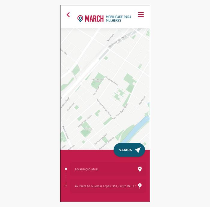 Prototipo alta fidelidade tela de localização