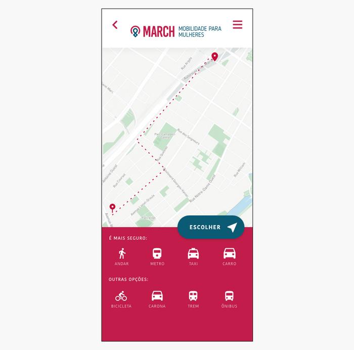 Prototipo alta fidelidade tela de maps escolha de mobilidade