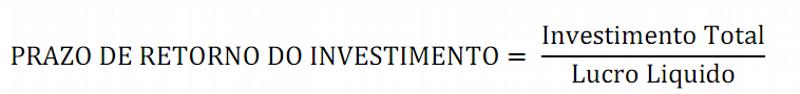 Fórmula do prazo médio de retorno do investimento