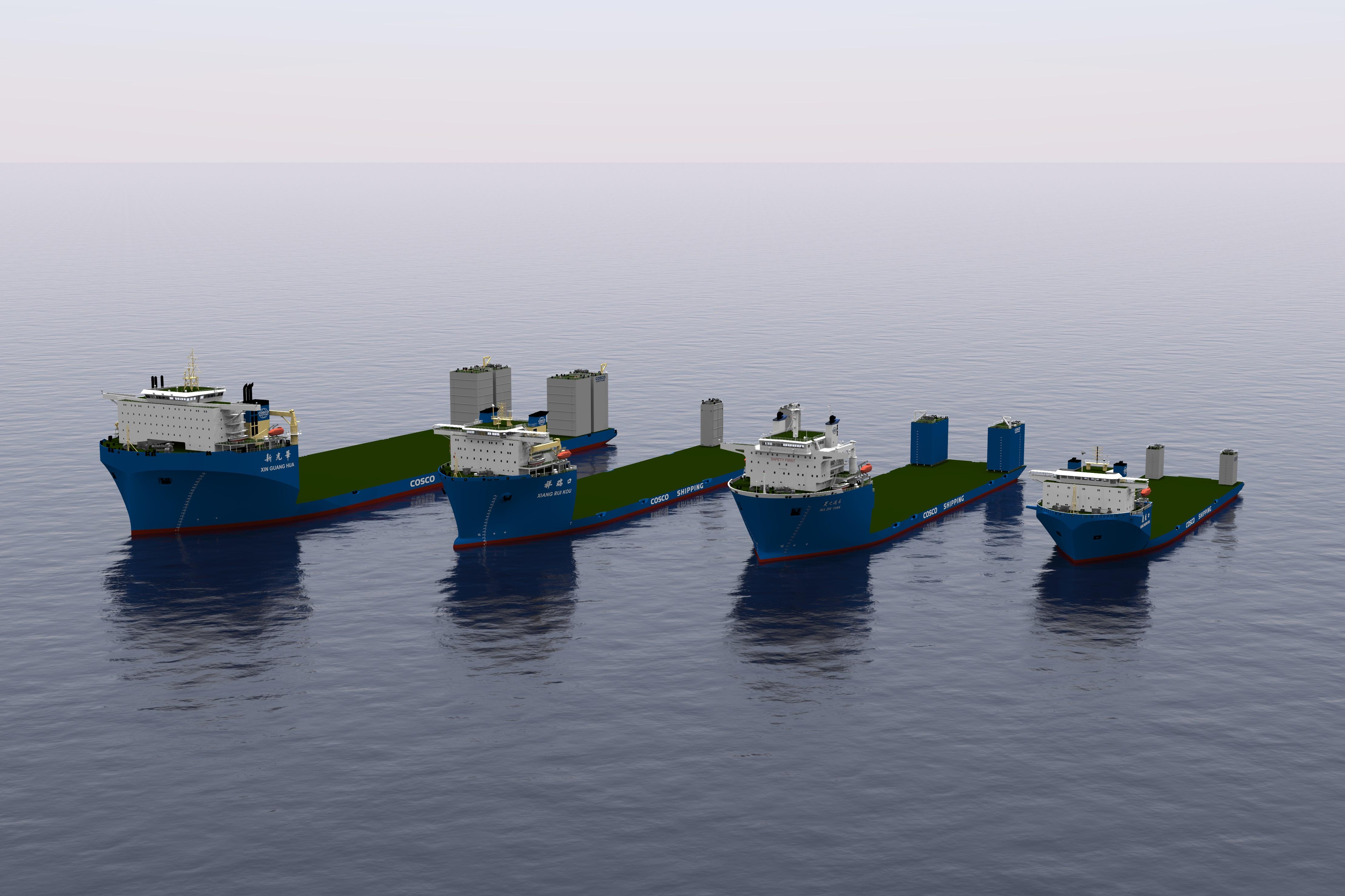 Navios Heavy Lift Semi-Submersíveis de diferentes designs e dimensões.