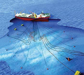 FPSO com sistema de ancoragem de turret interno.