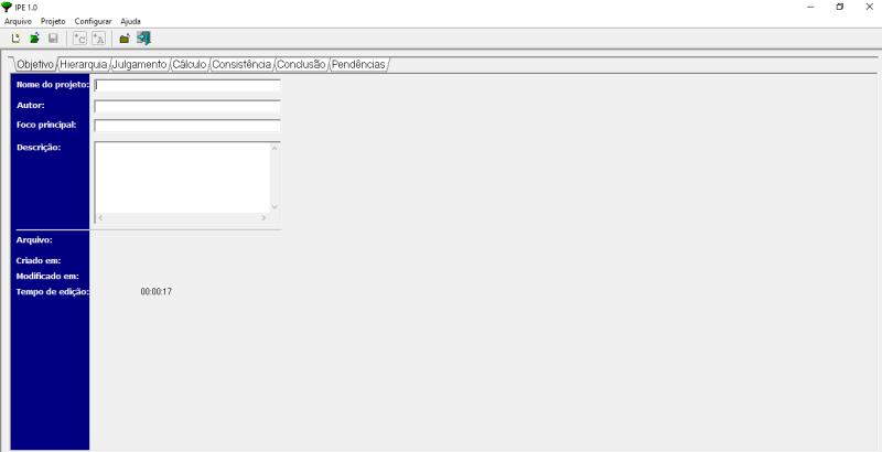 Página inicial do software IPÊ