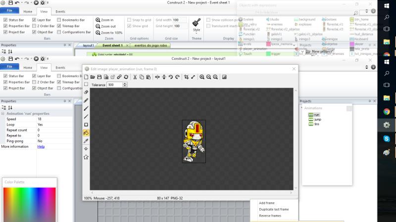 Criando a animação do jogador