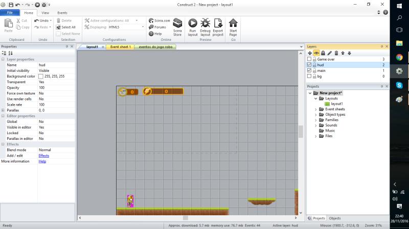 Criando uma nova tela, para colocar informações do jogo e setar seu parallax em 0,0