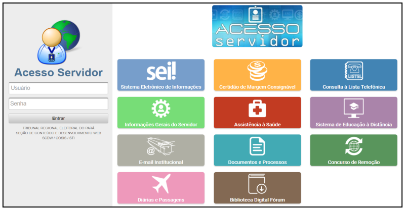 Telas de login e operação do Sistema Acesso Servidor