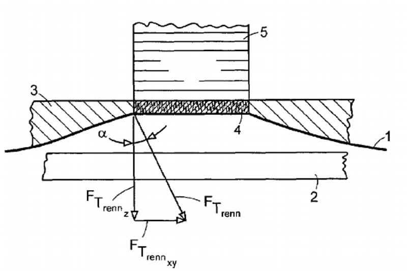 Patente da Perfactory P4 Standard: Filme(1), fundo da cuba (2), resina líquida (3), camada curada (4), objeto (5).