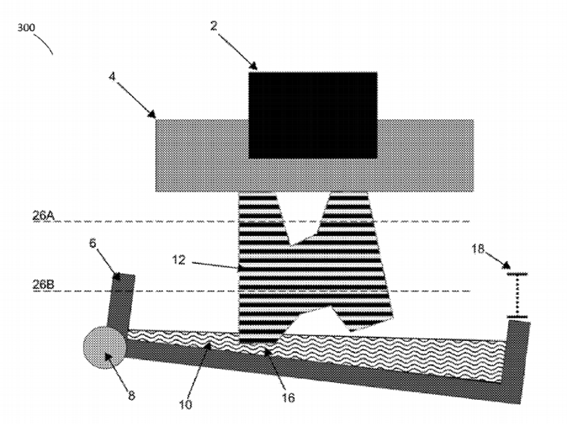 Patente da impressora Form1: 2) estrutura de suporte, 4)plataforma de construção, 6)cuba, 12)objeto , 16) camada separada, 6) superfície da cuba,8) eixo, 10) resina, 16) camada separada, 18) deslocamento da cuba