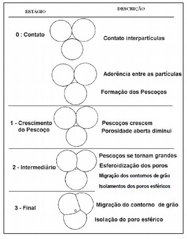 Etapas de ligação entre partículas durante o processo de sinterização