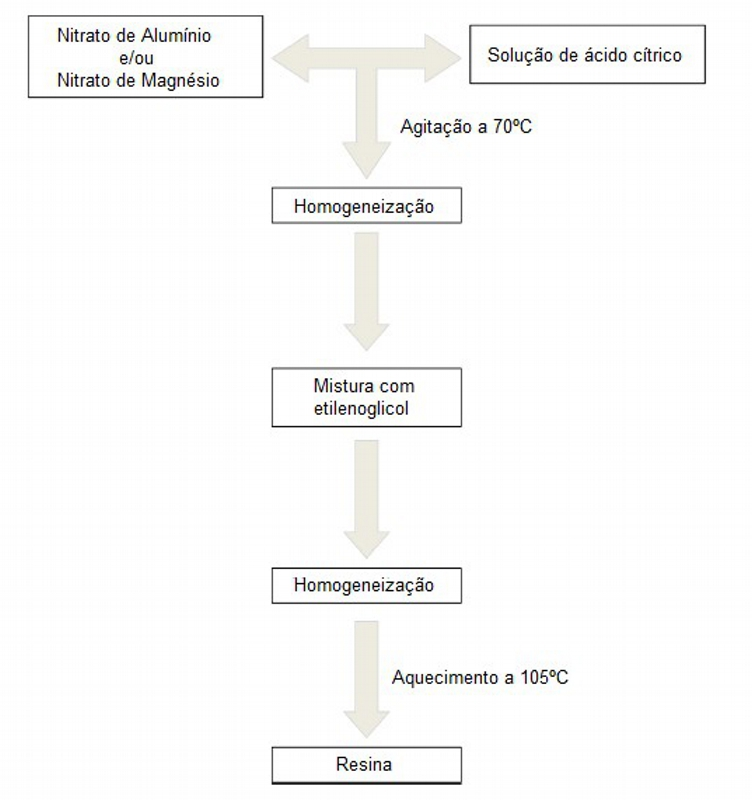 Fluxograma da síntese do precursor polimérico