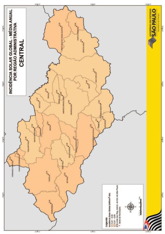Incidência solar global na Região Administrativa de São Carlos (Central) - São Paulo