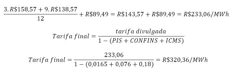 Cálculo da tarifa final