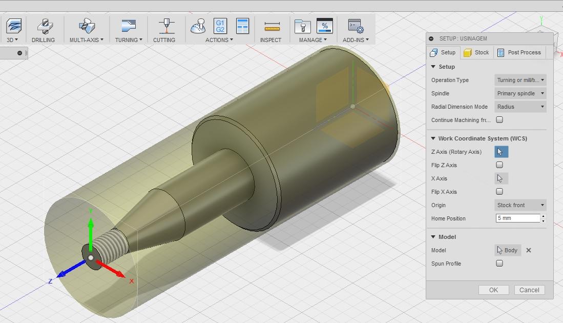 AutoCad Fusion 360 - Criação do Programa - SETUP