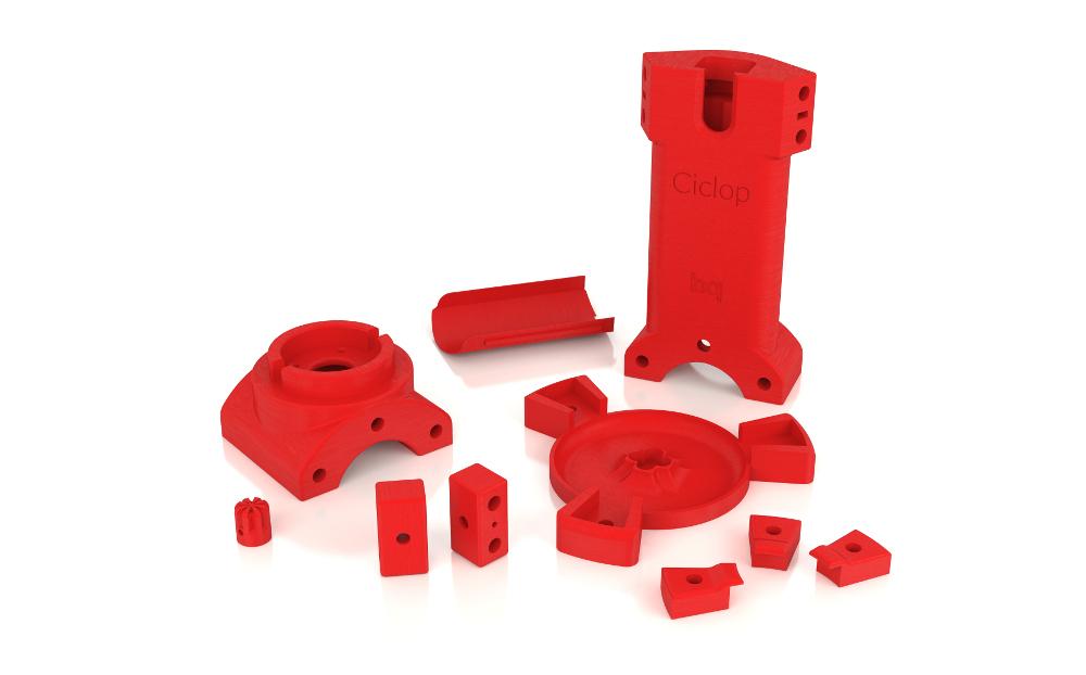 Partes do Scanner 3d Ciclop impressas em impressoras 3D