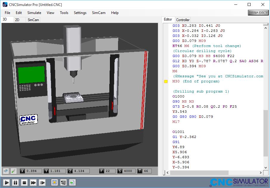Tela do Software Cnc Simulator