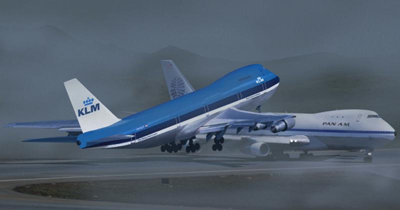 Ilustração do acidente Tenerife em 1977 na colisão de dois jumbos 747