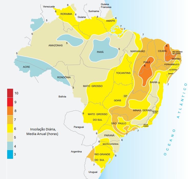 Mapa de Insolação média no Brasil