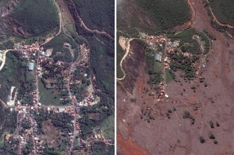 antes e depois do rompimento da barragem devido a pressão do aterro hidráulico