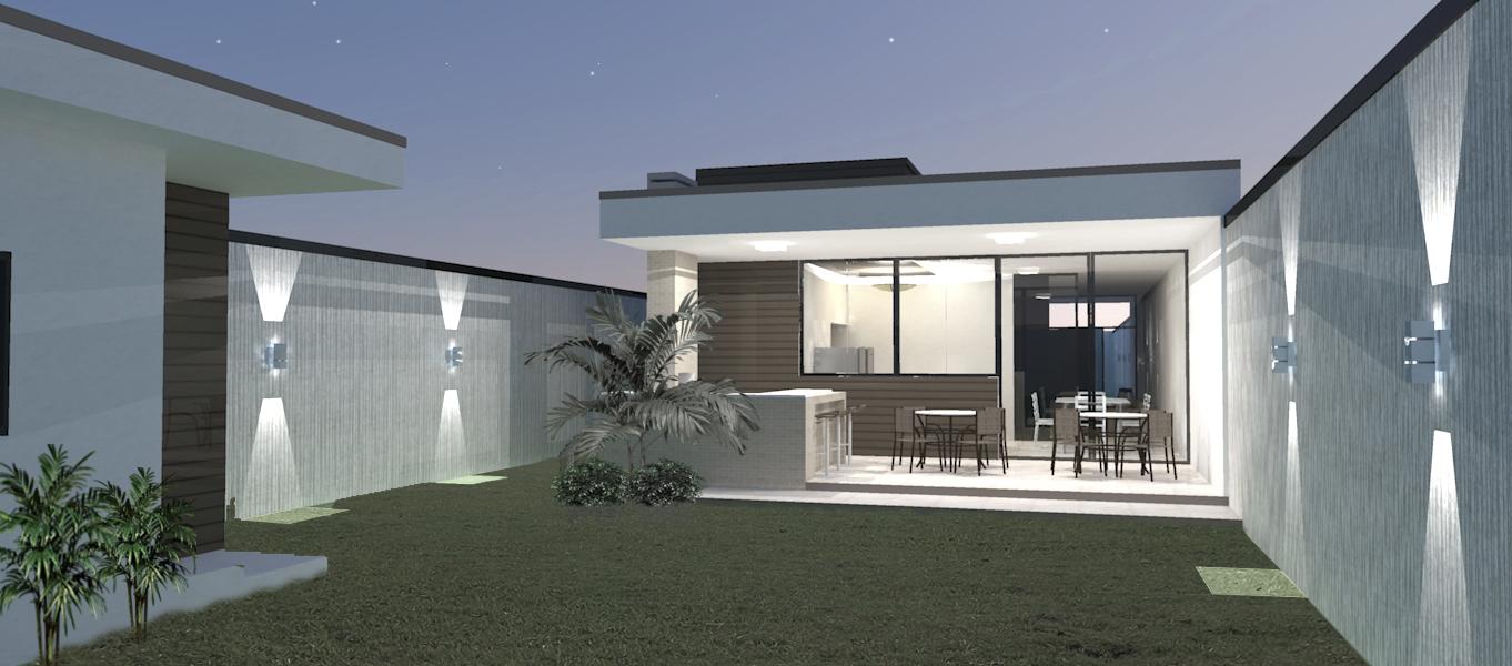 Fundo da casa projetado