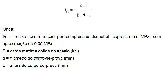 Fórmula para o cálculo de resistência à tração por compressão diametral