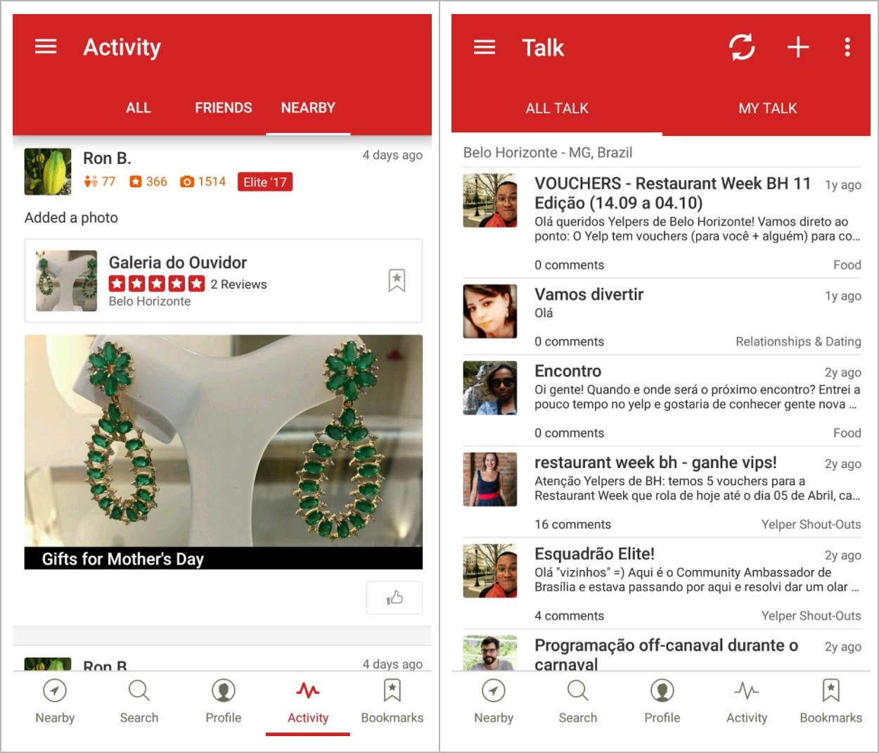 Tela de atividades da comunidade e tela de chat com outros usuários