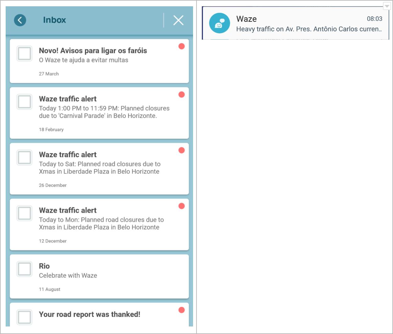 Tela de caixa de mensagens e notificação