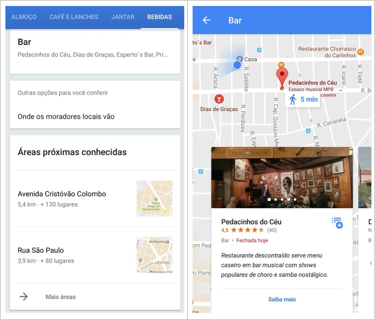 Tela com abas de serviços na localidade e tela de detalhes de locais com o serviço selecionado