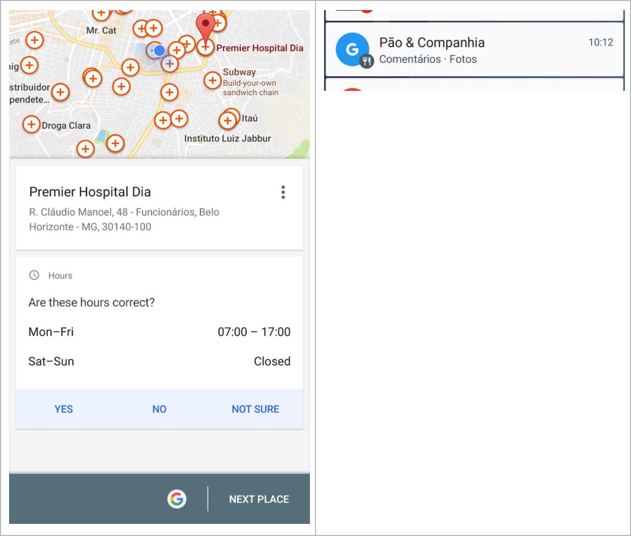 Tela para usuário contribuir com informações locais pendentes e notificação exibida quando o usuário está em determinada localidade, da função Guia Local