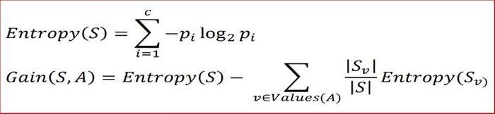 Formula entropia e ganho