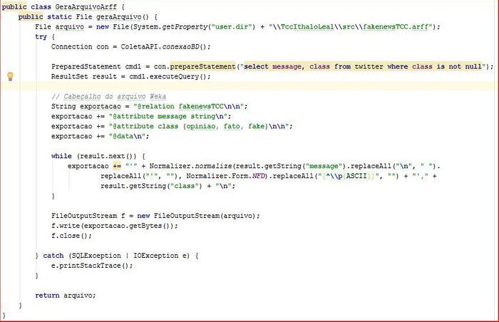 Código-fonte para geração do arquivo .ARFF