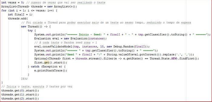 Código para realização dos testes utilizando K-fold Cross Validation