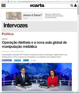 Cobertura da mídia sobre a condução coercitiva de Lula em 2016