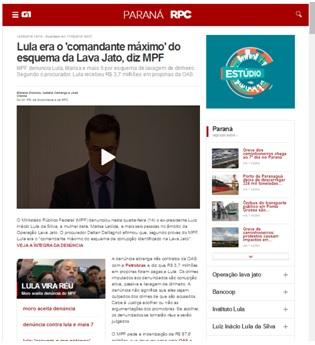 . Cobertura da mídia sobre o indiciamento de Lula no caso Tríplex em 2016