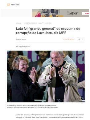 - Cobertura da mídia sobre o indiciamento de Lula no caso Tríplex em 2016