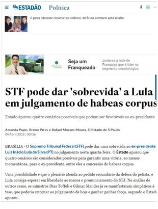 Cobertura da mídia sobre a negativa de habeas corpus a Lula no caso Tripex
