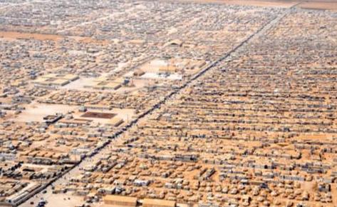 Vista aérea do campo de refugiados Zaatari