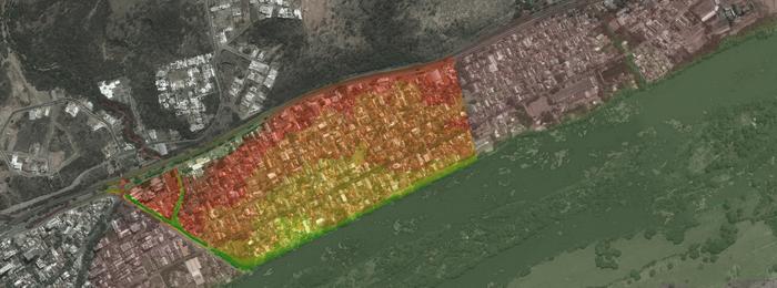 Mancha de inundação do bairro São Pedro