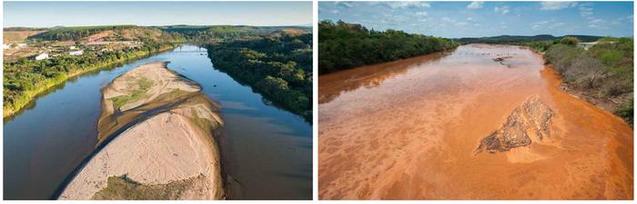 Situação do Rio Doce antes e depois do rompimento da barragem de Mariana em 2015