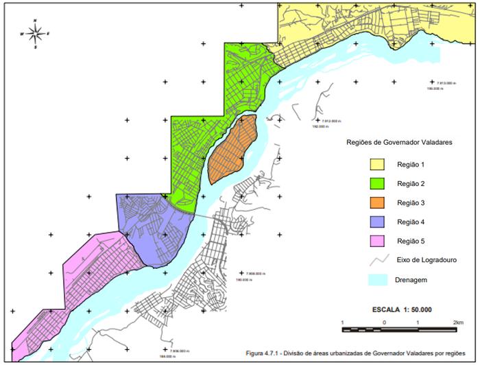 Divisão de áreas urbanizadas por regiões em Governador Valadares, MG.
