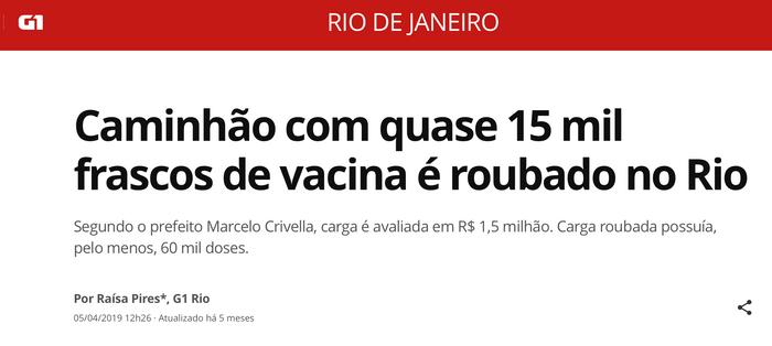 Roubo de vacina no Rio de Janeiro