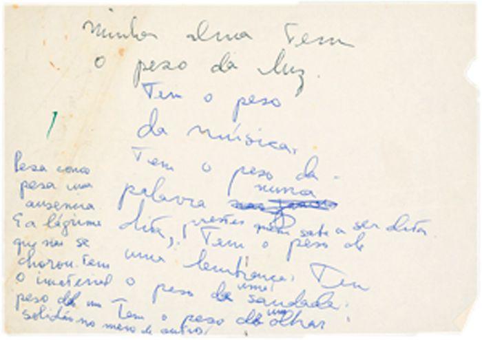 Último bilhete de Clarice escrito no hospital da Lagoa. Rio de Janeiro, 7.12.1977.