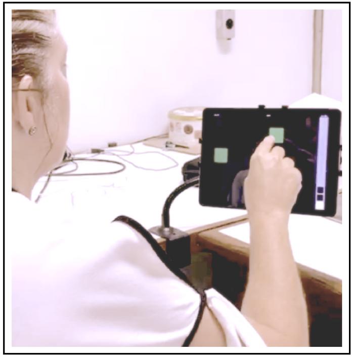 Configuração experimental para aplicação da bateria CANTAB.