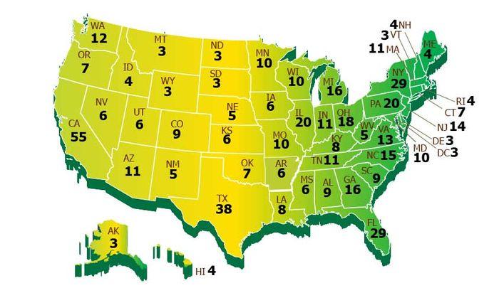 Mapa de distribuição de Delegados por estado nos EUA