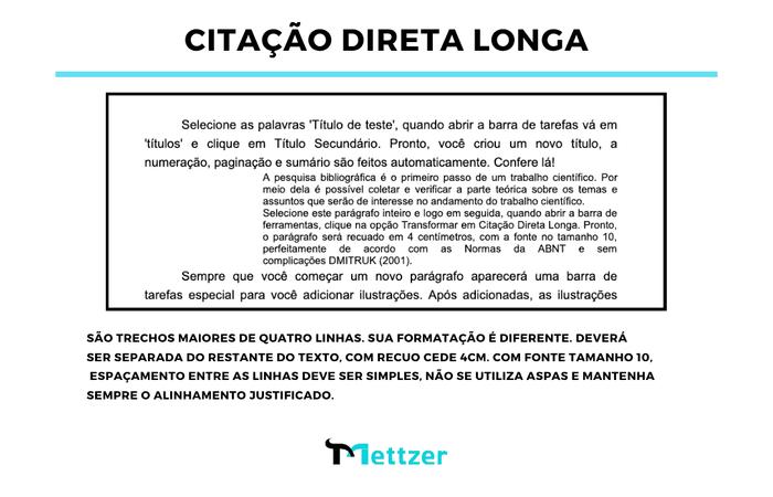 Exemplo de Citação direta longa no texto