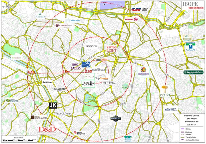 Abrangência geográfica - Shopping Cidade São Paulo