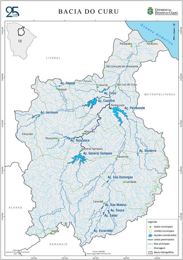 Bacia do Curu, açudes e municípios