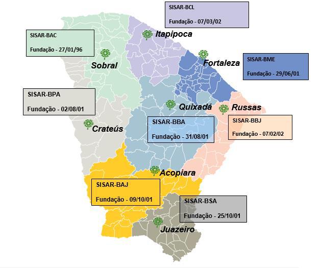 Localização das oito SISARs do Ceará