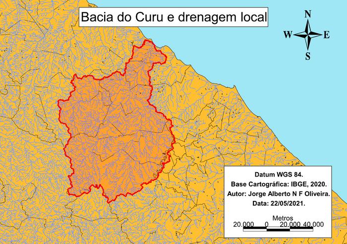 Bacia hidrográfica do Curu e drenagem local